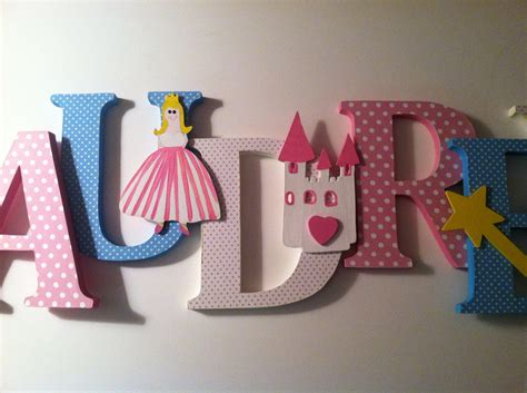 Decorated Wooden Letters For Nursery Princess Themed Wooden Letters Nursery Decor From Www Summerolivias Etsy Nursery Wooden