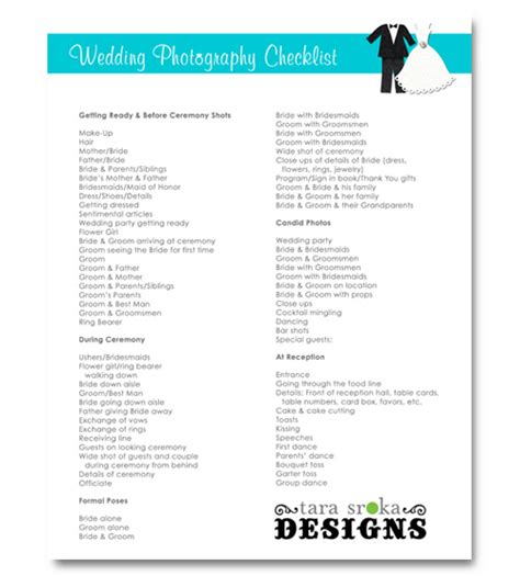 Wedding Photography Checklist by 7 Best Images Of Free Printable Wedding Checklist Template