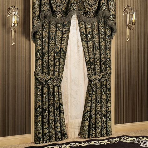 Black Valance Curtains Imperial Damask Swag Valance And Curtains