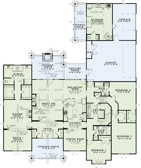 Square Living Room Floor Plans Craftsman Plan 3 580 Square 4 Bedrooms 3 5