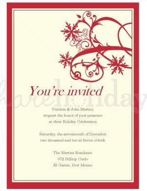 printable red flourishing snowflake invitation template