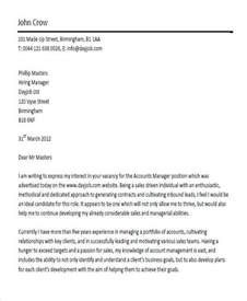 account executive cover letter exles account manager cover letter 8 exles in word pdf