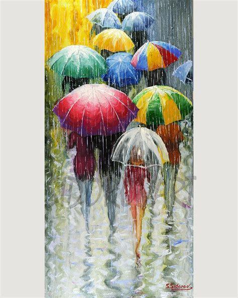 umbrella painting watercolors large artwork color
