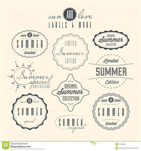 imagenes vintage verano sistema de etiquetas relacionadas del vintage del verano