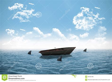 small boat in the ocean sharks circling small boat in the ocean stock illustration
