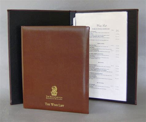 Menu Cover Book leather wine list covers made in the usa menusplus