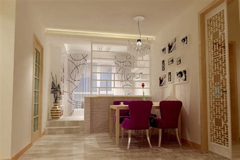 home dining interior design render with partition