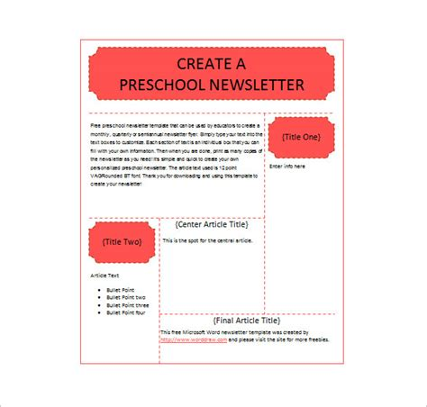 preschool newsletter template 13 printable preschool newsletter templates free word