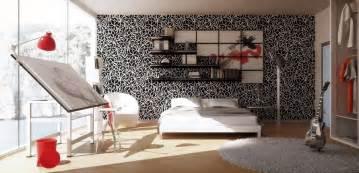 Art Bedroom Ideas via 3dqarta monochrome backdrop makes the cherry red accessories in