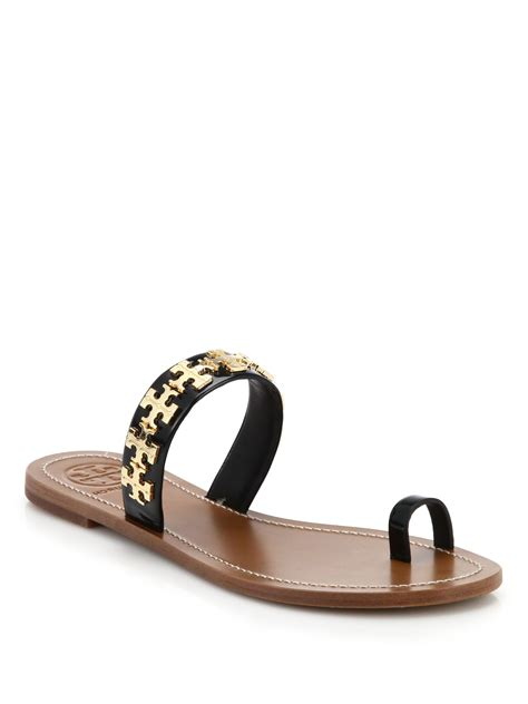 sandals with toe ring burch val metal logo leather toe ring sandals in