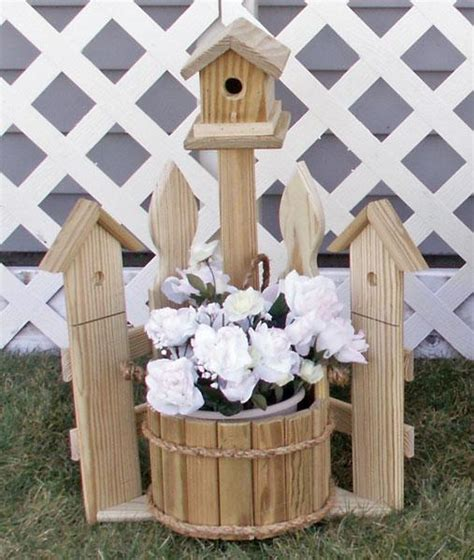 Birdhouse Planters by Amish Outdoor Mini Corner Picket Fence With Birdhouse