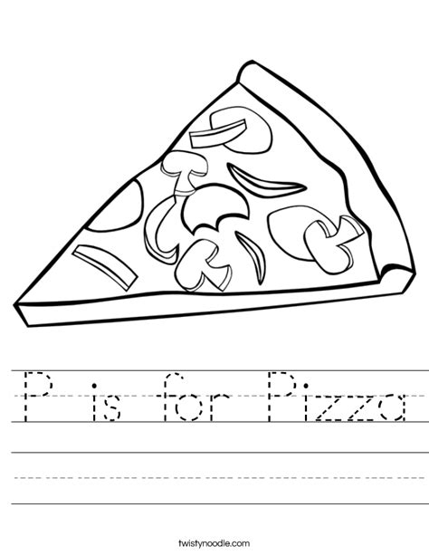 pizza coloring pages preschool p is for pizza worksheet twisty noodle