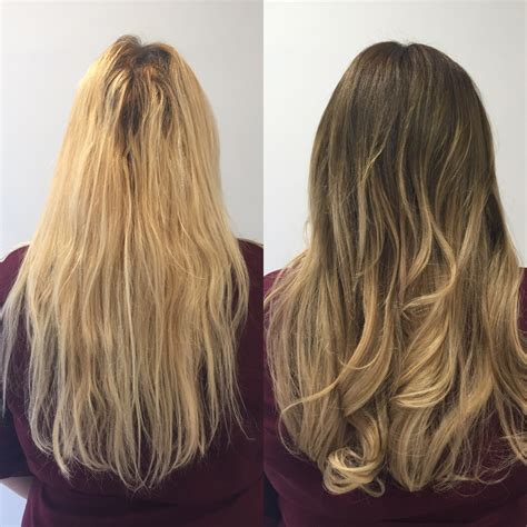 blonde bob root stretch before and after square falmouth
