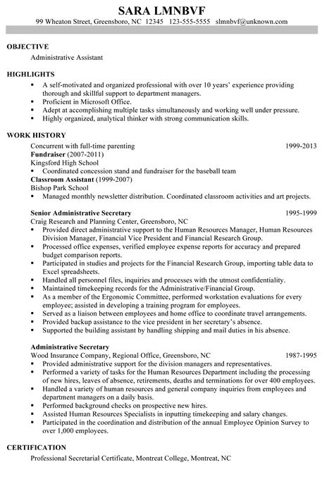 sle resume for administrative assistant