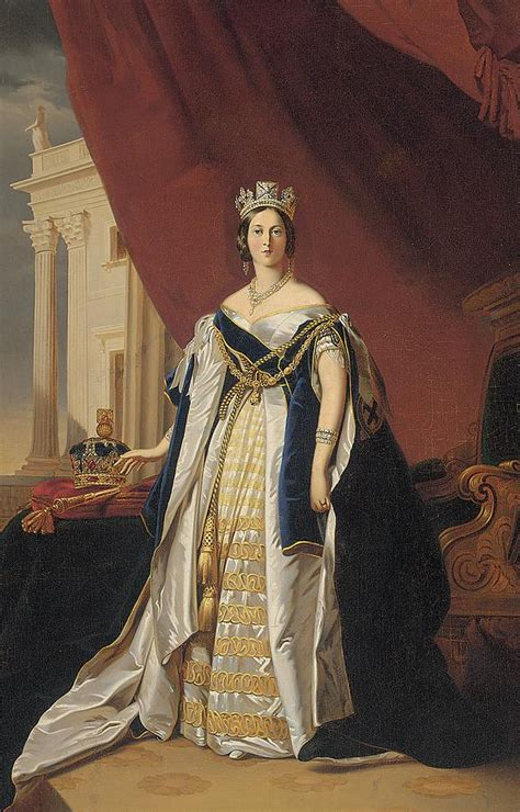 New England House Plans by Portrait Of Queen Victoria In Coronation Robes Painting By