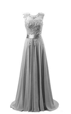 New Silver Chiffon Bridesmaid Dresses Long Beaded Formal Evening Party Prom Gown | eBay