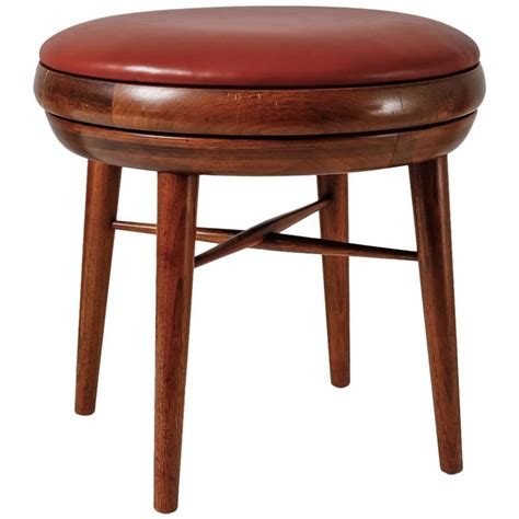 leather and walnut swivel stool usa 1950s for sale at