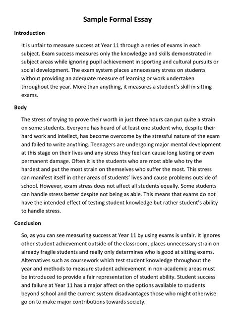 What Is Am Informal Essay by Best Photos Of Formal Introduction Paper Exle