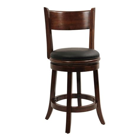 cushioned bar stool boraam palmetto 24 in walnut swivel cushioned bar stool 47124 the home depot