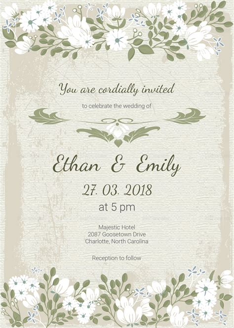 vintage wedding invitation card template in psd word