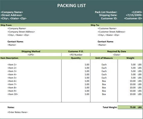 Microsoft Excel Templates packing list template microsoft excel invoices ready made office templates