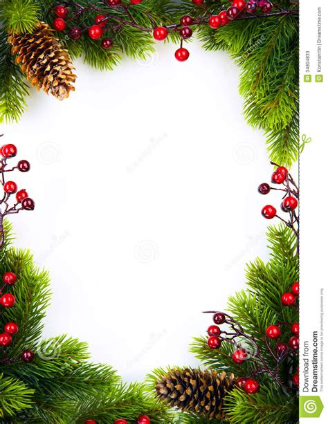 Beautiful Montage Christmas Cards #1: Art-christmas-frame-fir-holly-berry-white-paper-ba-background-34804833.jpg