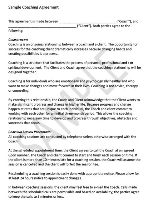 Coaching Contract Template 4 Free Word Pdf Documents Download Free Premium Templates Coaching Contract Template