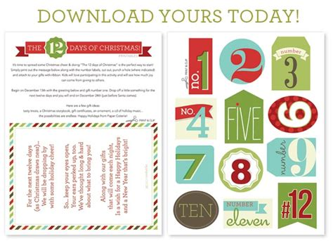 12 days of christmas gift tags 12 days of ideas