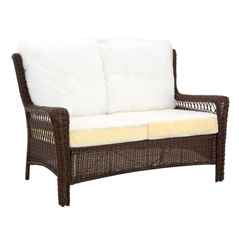 hton bay wicker loveseat hton bay park meadows brown all weather wicker patio