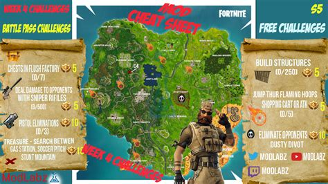 fortnite week 4 challenges mod sheet guide for fortnite battle royale season 5