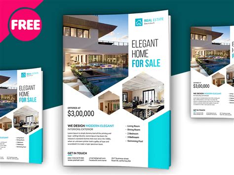 free psd premium real estate flyer template by free