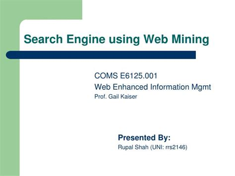 pattern discovery web usage mining ppt ppt search engine using web mining powerpoint