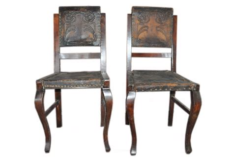 antique embossed leather dining chairs pair omero home
