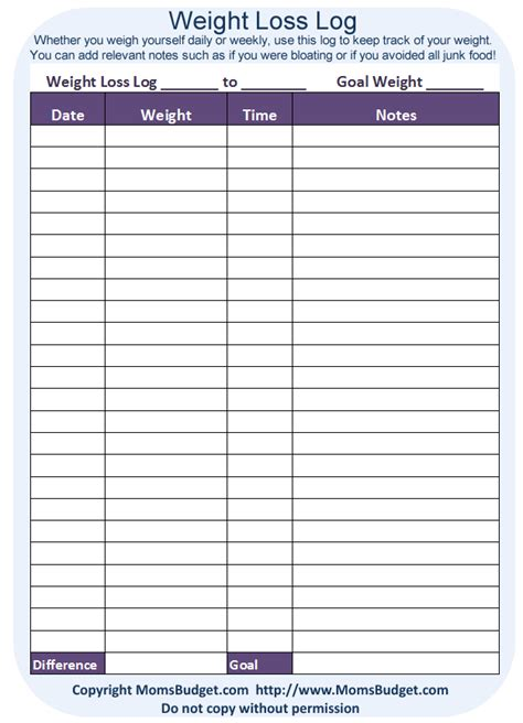 free printable weight loss planner weight loss log free printable worksheet from
