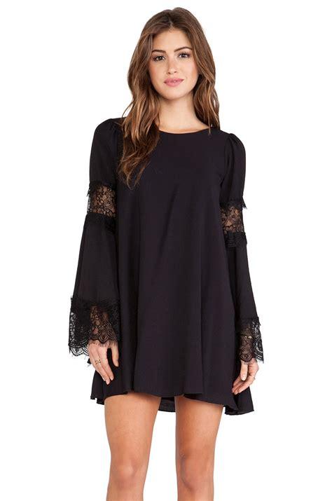 Black Lace Split Joint Dress american stalker brand lace split joint dress