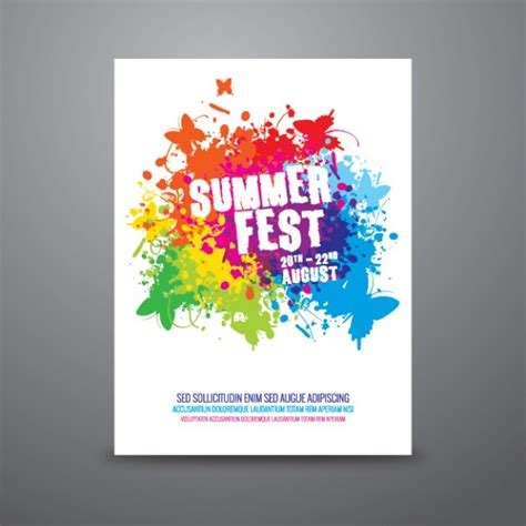 Poster Template Free by Summer Festival Poster Template Vector Free