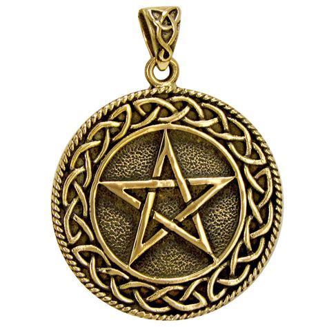 celtic jewelry pagan jewelry wiccan and goddess jewelry celtic knot pentacle gold color bronze pendant wiccan