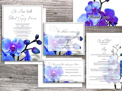Wedding Invitations Printable Templates Santa Clara Blue Orchid Suite Invitation And Rsvp Orchid Wedding Invitation Template