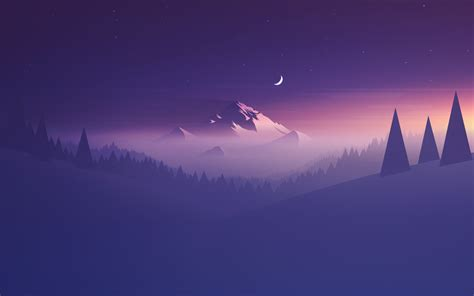 wallpaper mountain minimal  moon hd creative