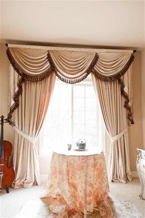 Swag Valances For Windows Designs Pearl Dahlia Quot Quot Designer Valance Curtains With Swags And Tails By Celuce Traditional