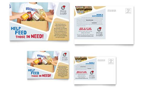 post card template ideas food bank volunteer postcard template design