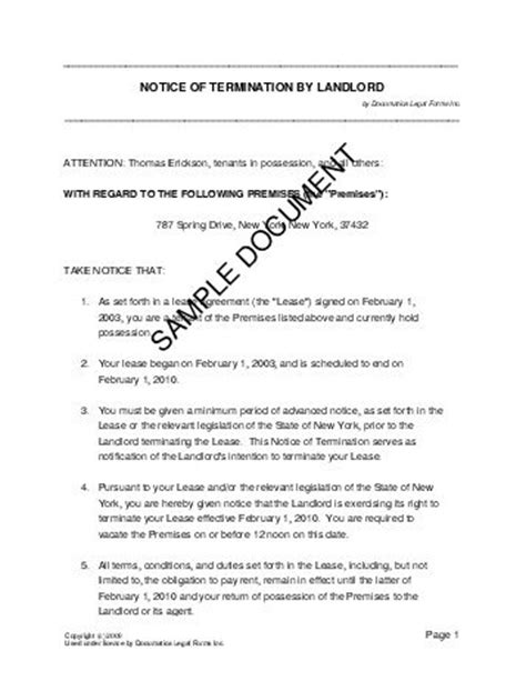 Lease Termination Letter South Africa Notice Of Termination By Landlord South Africa
