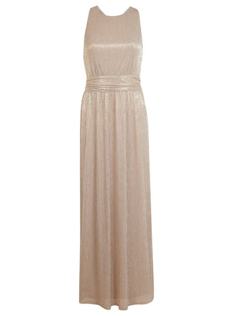 Gold Plisse Maxi Dress   Miss Selfridge