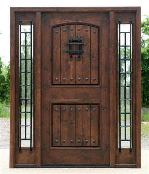 Rustic Exterior Doors In Walnut Finish Clear Beveled Glass Beveled Glass Front Door