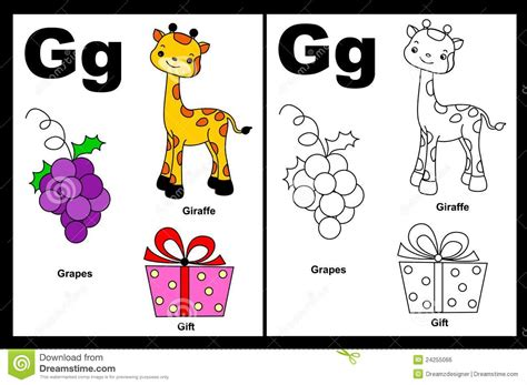 Gift Starting With Letter G Letter G Worksheet Royalty Free Stock Image Image 24255066