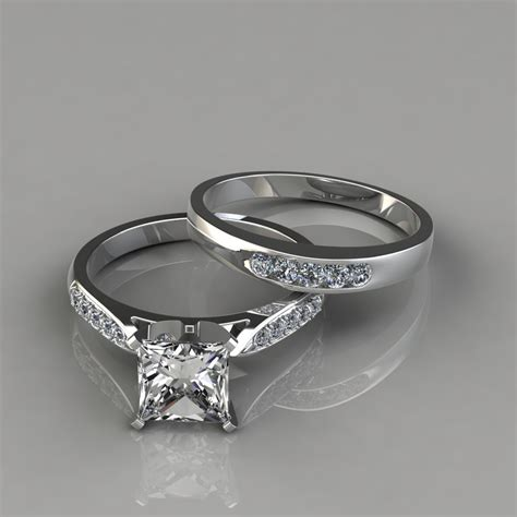 pave engagement ring cathedral pav 233 engagement ring and wedding band set