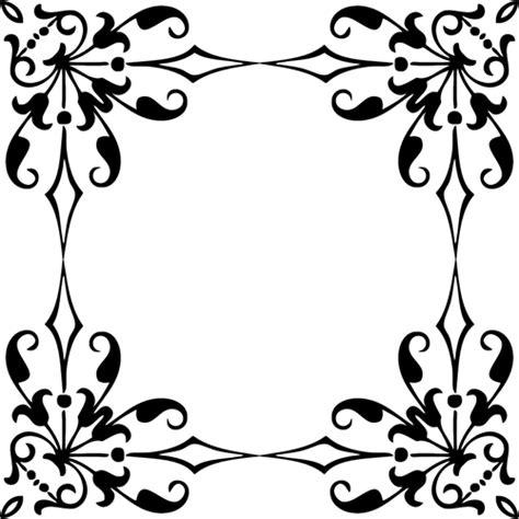 desain bunga hitam putih siluet bingkai domain publik vektor