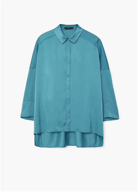 Shirt Mango lyst mango satin finish flowy shirt in green