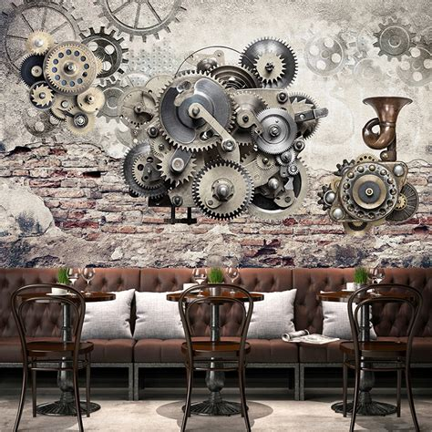 mechanical decor modern creative retro mechanical gear vintage backdrop