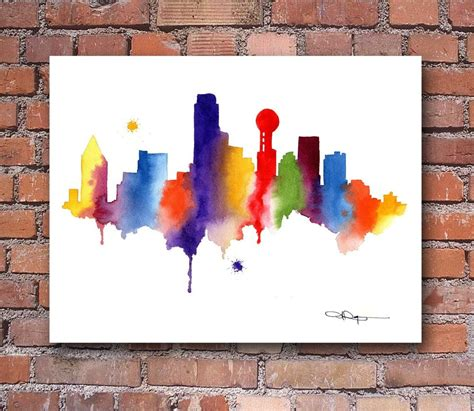 Drawing Or Painting by Dallas Skyline Abstract Watercolor Painting Print By